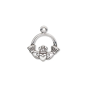 charm, antiqued sterling silver, 16x14mm claddagh. sold individually.