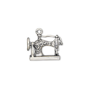 charm, antiqued sterling silver, 17x13mm two-sided sewing machine. sold individually.