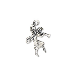 charm, antiqued sterling silver, 19.5x15mm double-sided fairy with flute. sold individually.