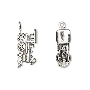 charm, antiqued sterling silver, 19x10mm two-sided train engine. sold individually.