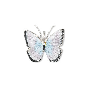 charm, cloisonne, silver-plated copper and enamel, silver / black / light blue, 20x18mm butterfly. sold individually.
