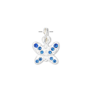 charm, crystal and sterling silver, blue, 14x12mm butterfly. sold individually.