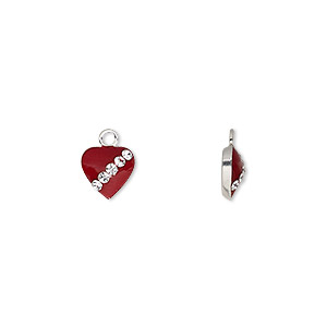 charm, enamel / glass / sterling silver, red and clear, 7x7mm single-sided heart. sold individually.