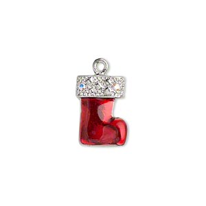 charm, enamel / swarovski crystal / imitation rhodium-plated pewter (zinc-based alloy), red and crystal ab, 16x12mm double-sided christmas stocking. sold per pkg of 2.