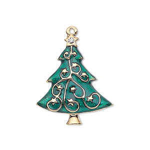 charm, enamel / swarovski crystals / gold-finished pewter (zinc-based alloy), green and crystal clear, 27x22mm single-sided christmas tree. sold individually.