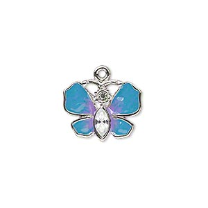 charm, enamel / swarovski crystals / silver-plated pewter (zinc-based alloy), blue / purple / crystal clear, 16x13mm single-sided butterfly. sold individually.