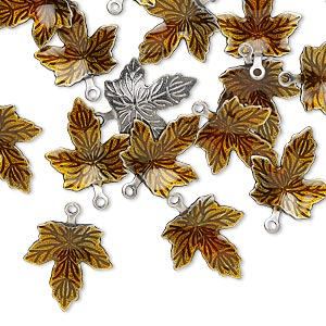 charm, enamel and antique silver-plated brass, brown, 13x12mm single-sided maple leaf. sold per pkg of 20.