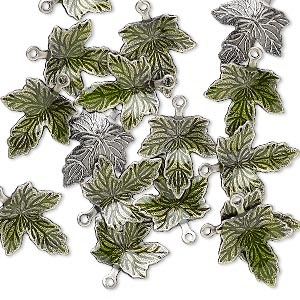 charm, enamel and antique silver-plated brass, green, 13x12mm single-sided maple leaf. sold per pkg of 100.