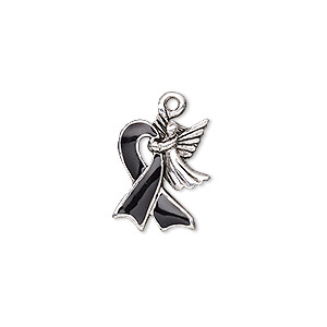 charm, enamel and antique silver-plated pewter (tin-based alloy), black, 18x14mm single-sided awareness ribbon with angel. sold individually.