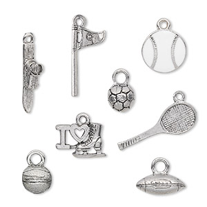 charm, enamel and antiqued pewter (tin-based alloy), white, 12x2mm-24x14mm sports theme. sold per 8-piece set.