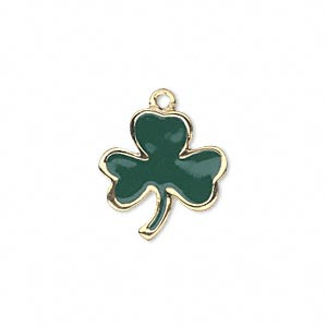 charm, enamel and gold-finished pewter (zinc-based alloy), green, 18x17mm single-sided 3-leaf clover. sold individually.