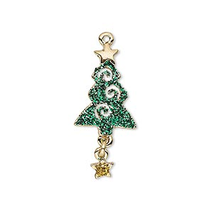 charm, enamel and gold-finished pewter (zinc-based alloy), green and gold with glitter, 30x13mm single-sided christmas tree with star dangle. sold individually.