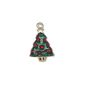 charm, enamel and gold-finished pewter (zinc-based alloy), green and red, 18x13mm single-sided christmas tree with star. sold individually.