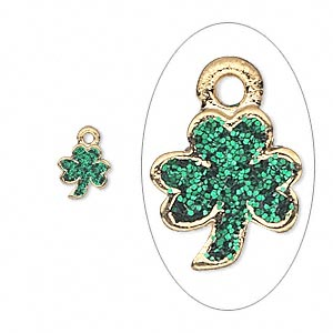 charm, enamel and gold-finished pewter (zinc-based alloy), green with glitter, 8x7mm single-sided 3-leaf clover. sold per pkg of 6.