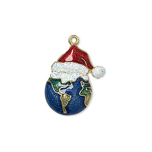 charm, enamel and gold-finished pewter (zinc-based alloy), multicolored with glitter, 21x17.5mm single-sided globe with santa hat. sold individually.
