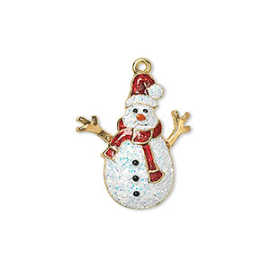 charm, enamel and gold-finished pewter (zinc-based alloy), multicolored with glitter, 22.5x19mm single-sided snowman. sold individually.