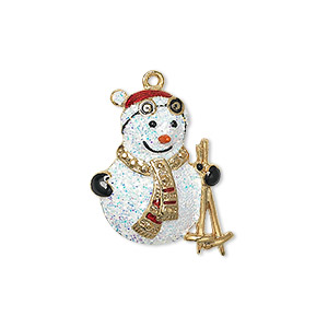 charm, enamel and gold-finished pewter (zinc-based alloy), multicolored with glitter, 24x19mm single-sided snowman with skis. sold individually.