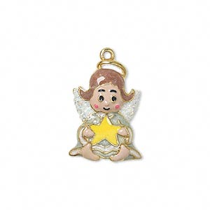 charm, enamel and gold-finished pewter (zinc-based alloy), multicolored with glitter, 22x16mm single-sided sitting angel holding star. sold individually.