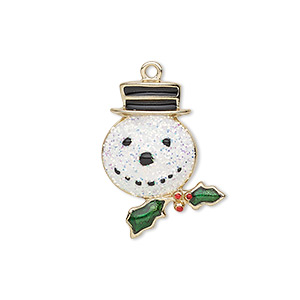 charm, enamel and gold-finished pewter (zinc-based alloy), multicolored with glitter, 23x18mm single-sided snowman head with hat and holly leaves with berries. sold individually.