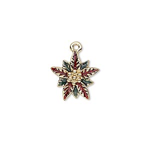 charm, enamel and gold-finished pewter (zinc-based alloy), red and green, 15x14mm single-sided poinsettia. sold individually.