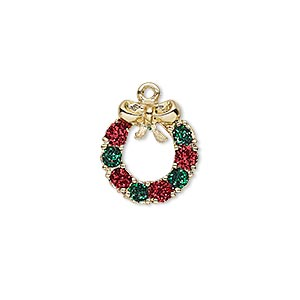 charm, enamel and gold-finished pewter (zinc-based alloy), red and green with glitter, 15x14mm single-sided wreath. sold individually.