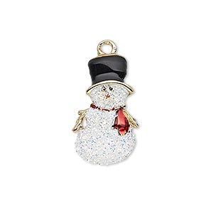 charm, enamel and gold-finished pewter (zinc-based alloy), white / black / red with glitter, 23x14mm single-sided snowman. sold individually.
