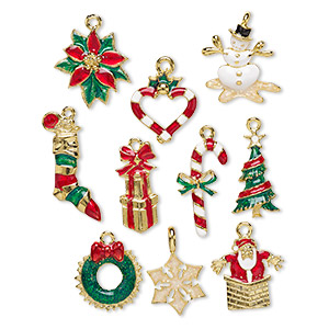 charm, enamel and gold-plated pewter (tin-based alloy), multicolored, 28x17mm-31x15mm christmas theme. sold per 10-piece set.
