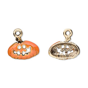 charm, enamel and gold-plated pewter (tin-based alloy), orange, 16x10mm pumpkin. sold per pkg of 2.