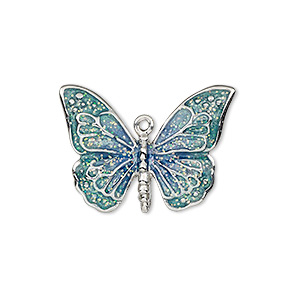 charm, enamel and imitation rhodium-plated pewter (zinc-based alloy), blue and green with glitter, 26x19mm single-sided butterfly. sold individually.