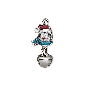 charm, enamel and imitation rhodium-plated pewter (zinc-based alloy), multicolored with glitter, 23x11mm single-sided penguin with jingle bell. sold individually.