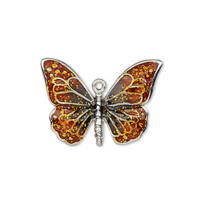 charm, enamel and imitation rhodium-plated pewter (zinc-based alloy), orange and black with glitter, 26x19mm single-sided butterfly. sold individually.