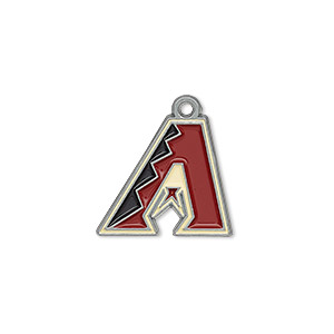 charm, enamel and pewter (zinc-based alloy), black / red / sand, 18x16mm single-sided mlb™ arizona diamondbacks. sold per pkg of 2.