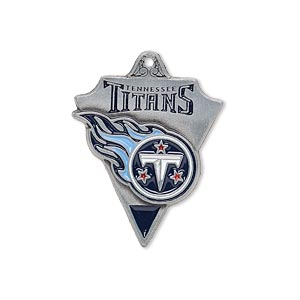charm, enamel and pewter (zinc-based alloy), blue and red, 29x22mm single-sided nfl tennessee titans. sold individually.