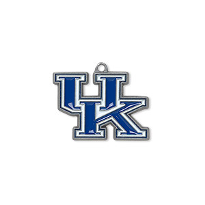 charm, enamel and pewter (zinc-based alloy), blue and white, 22x16mm single-sided university of kentucky wildcats. sold individually.