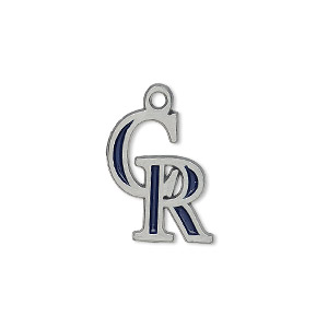 charm, enamel and pewter (zinc-based alloy), dark blue, 18x15mm single-sided mlb™ colorado rockies. sold individually.