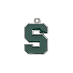charm, enamel and pewter (zinc-based alloy), green, 19x14mm single-sided michigan state spartans. sold individually.