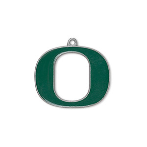 charm, enamel and pewter (zinc-based alloy), green, 23x19mm single-sided university of oregon ducks. sold individually.