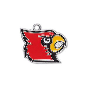 charm, enamel and pewter (zinc-based alloy), multicolored, 23x18mm single-sided left-facing university of louisville cardinals. sold individually.