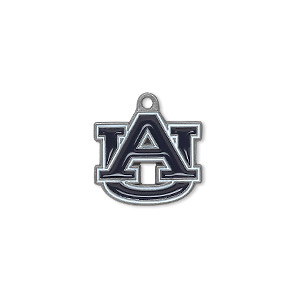 charm, enamel and pewter (zinc-based alloy), navy blue and white, 17x15mm single-sided auburn university tigers. sold individually.