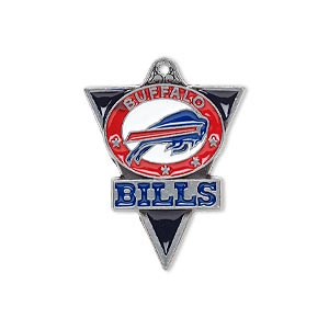 charm, enamel and pewter (zinc-based alloy), red / white / blue, 29x22mm single-sided nfl buffalo bills. sold individually.