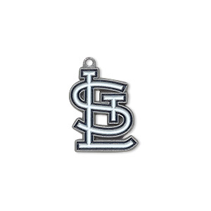 charm, enamel and pewter (zinc-based alloy), white and black, 19x16mm single-sided mlb™ st. louis cardinals. sold per pkg of 2.