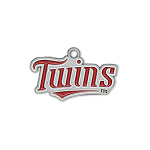 charm, enamel and pewter (zinc-based alloy), white and red, 26x12mm single-sided mlb™ minnesota twins. sold per pkg of 2.