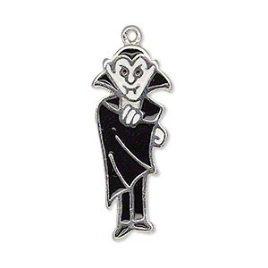 charm, enamel and silver-plated pewter (zinc-based alloy), black / white / red, 32x13mm single-sided vampire. sold individually.