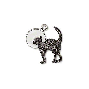 charm, enamel and silver-plated pewter (zinc-based alloy), black and white, 18x18mm single-sided cat with moon. sold individually.