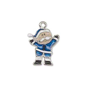 charm, enamel and silver-plated pewter (zinc-based alloy), multicolored, 19x16mm single-sided elf. sold individually.