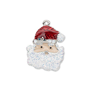 charm, enamel and silver-plated pewter (zinc-based alloy), multicolored with glitter, 22x18mm single-sided santa claus head. sold individually.