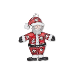charm, enamel and silver-plated pewter (zinc-based alloy), red / white / black / peach, 26x21.5mm single-sided standing santa with snowflake design. sold individually.