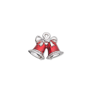 charm, enamel and silver-plated pewter (zinc-based alloy), red, 16.5x12mm double-sided bells with bow. sold individually.