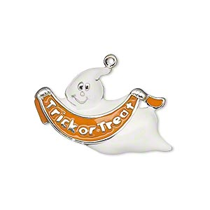 charm, enamel and silver-plated pewter (zinc-based alloy), white and orange, 27x21mm single-sided ghost with trick or treat banner. sold individually.