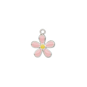 charm, enamel and sterling silver, light pink and yellow, 10x10mm single-sided flower. sold individually.